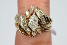 Women's 1.10 ct H-SI2 Diamond Ring Marquise Cut Center 14k Solid Gold Engagement