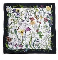 $480 NWT NEW Gucci Flora & INSECTS Multi Color Silk Shawl Scarf