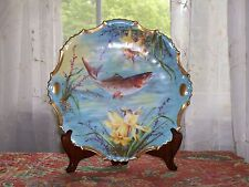 AK CD Klingenberg Dwenger antique Fish Plate Limoges France signed Roche 9.5 in.