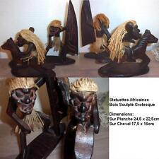 2 Statuettes Africaines En Bois Sculpté Grotesque