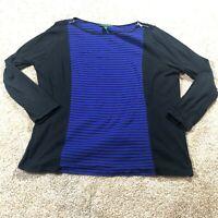 Ralph Lauren Womens Top Size 2X Long Sleeved Shirt Blue Black Striped *Sm FLAW