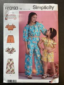 Simplicity R10193 Child sz 7 - 14 NEW UNCUT Matching Tops and Pants Shorts