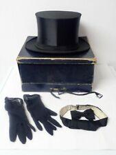 Toller antiker Klapp Zylinderhut, 2 Fliegen und Handschuhe in orig. Schachtel