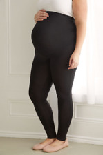 BUMP IT UP MATERNITY Black Soft Touch Leggings With Tummy Control Panel UK 24