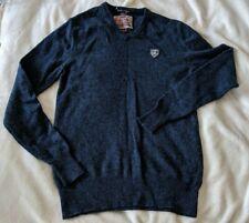SUPERDRY mens jumper Size Medium Lambswool blend blue V neck