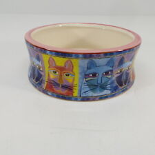 """Laurel Burch Ceramic 5"""" Cat Water Food Bowl Inspirations Pinched Kitty Faces"""