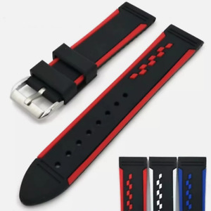 Racing Style Black & Blue, Red or White Silicone Replacement Watch Band Strap