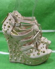 "Daria Skintone Spikes 5""High Wedge Heel 1.5"" Platform Sexy Shoes Size 6.5"
