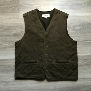Woolrich Mens Large Quilted Lined Button Hunting Outdoors Vest Cotton Dark Brown