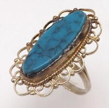 925 STERLING SILVER SYNTHETIC TURQUOISE OVAL FILIGREE RING SIZE 5.5 RT5