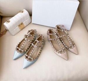 Women's Patent Leather Rivet Shoes Pumps Glitter Shoes Flats Buckle Summer Blue