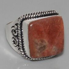 H16197  Natural Sunstone & 925 Silver Overlay Ring US 9.7 Jewellery