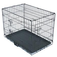 Double Doors Metal Cat Dog Crate Pet Kennel Folding Steel Crate Animal Playpen