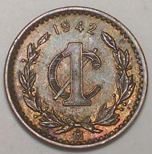 1942 Mexico Mexican One 1 Centavo Eagle Coin XF