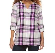 Women's Croft & Barrow Purple Plaid Button Down V-Neck Top Blouse Plus 3X NWT