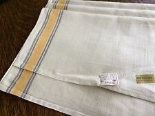 3 vintage pure IRISH  linen dish towels never used nwt gold grey striped edge