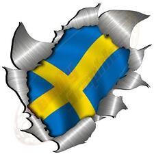 Single Metal Rip Torn Open Swedish Flag Sticker JDM Race Car Van Truck Bike
