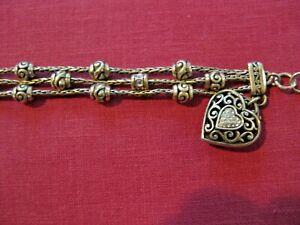 BRIGHTON triple strand Rhinestone heart Charm  bracelet - EUC