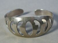 Vintage Sterling Silver Open Work Cuff Bracelet Mexico Taxco #J1657