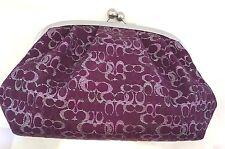 COACH Kisslock Purple Framed Wristlet Clutch Purse Cosmetic Case