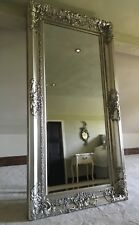 ANTIQUE SILVER VINTAGE OVER MANTLE FRENCH BEVELLED WOOD MIRROR WALL 5FT x 4FT
