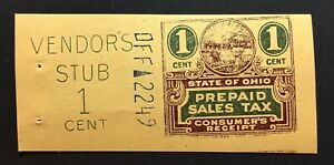 Ohio State Revenue, 1 Cent Sales Tax Entire, Columbian Bank Note Co. #DFF- -2249