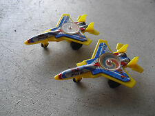 "Lot of 2 Vintage Tin Plastic F-15 Eagle Fighter Plane Toys 4 1/4"" Long"