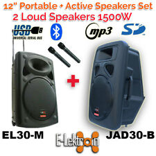 """2 X 12"""" inch 1500W Portable+Active Speakers Sound System Battery PA BT/USB/ Mics"""