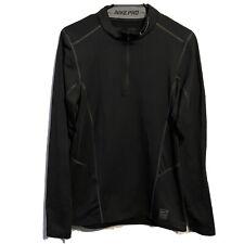 Nike Pro Mens Small Black Long Sleeve Dri Fit Hyperwarm Lite 1/4 Zip Fitted