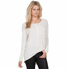 2016 NWT WOMENS VOLCOM LIVED IN SNOW HENLEY $35 S vintage white long sleeve snap