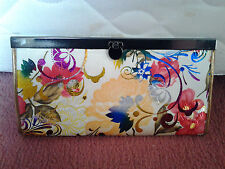 Light yellow colour silky envelop shape wallet with shiny flowers, zip pocket