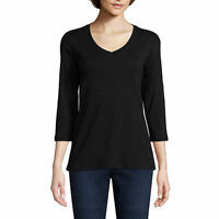 **TALL** St. John's Bay 3/4 Sleeve V-Neck T-shirt. BLACK