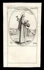 santino incisione 1600 S.ANTONIO DA PADOVA  j. callot