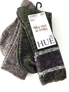 HUE 2 Pairs Boot Socks O/S Marled Stripe Boot Sock Espresso U19474
