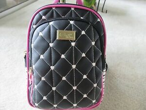 Luv Betsey Johnson Black Quilted With Black & White Stripe Backpack New With Tag