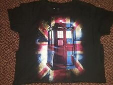 Doctor Who Tardis Union Jack Ladies Large L T-Shirt Ripple Junction 100% Cotton