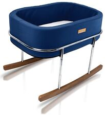 Wonderfold Modern Design Gentle Rocking Baby Bassinet Cradle Bed Navy New