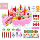 37pcs Pretend Role Play Kitchen Toy Birthday Cake Food Cutting Set Kids Xmas