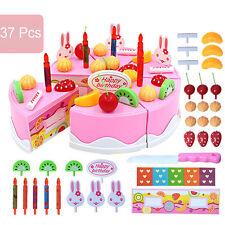 37pcs Pretend Role Play Kitchen Toy Birthday Cake Food Cutting Set Kids Xmas
