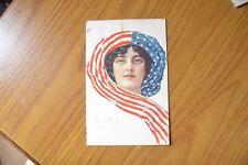 CARTOLINA DONNA CON BANDIERA AMERICANA BOURRILLON VIAGGIATA 1918 SUBALPINA LL