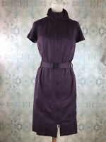 Akris Punto Belted Zipper Utility Aviator Purple Dress 10