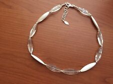 """Paola Valentini PV Clear Quartz Brushed Matte Sterling Silver 18"""" +3"""" Necklace"""
