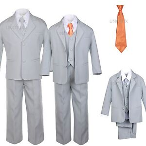 6 PC Satin Tie + Baby Toddler Kid Formal Wedding Party Tuxedo Gray Boy Suit S-20