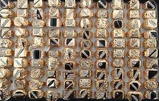 Wholesale lots 15pcs mixed design rhinestone&alloy cool trendy men's rings G003