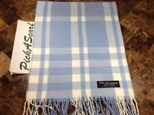 100% CASHMERE Warm Soft Wool Scarf Blue SCOTLAND Check Plaid B82 Men Women