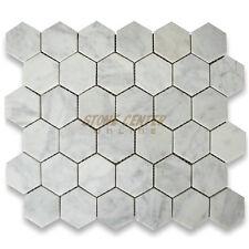 C32XH Carrara White 2 inch Hexagon Mosaic Tile Honed