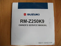 2008 Suzuki RM-Z250K9 Owner's Service Manual on CD OEM