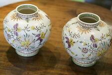 "Wonderful Vintage Pair Gouda Gekleurd Delfts Floral 8"" Tall Vases Holland 1940's"