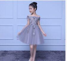 KIDS OFF SHOULDER DRESS AG -  GRAY