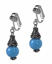 Dangle ClipOn Earrings Blue African Turquoise SemiPrecious Stone Antiqued Silver